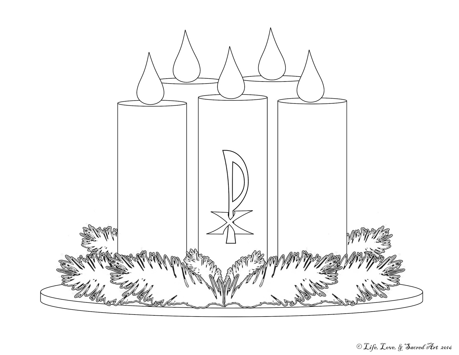Advent wreath catholic coloring pages