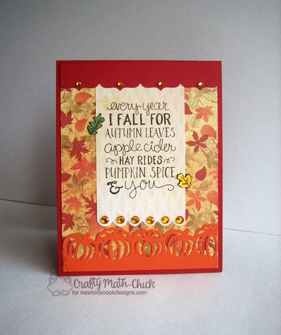 Fall leaf card by Crafty Math-Chick | Fall-ing For You Stamp set by Newton's Nook Designs #newtonsnook #pumpkinspice