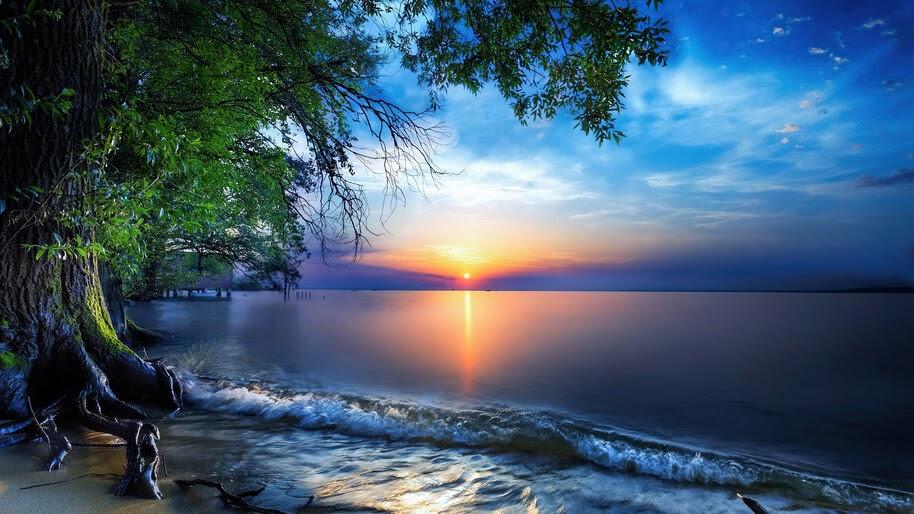 Sunrise, Sea, Horizon, Scenery, 4K, #6.971