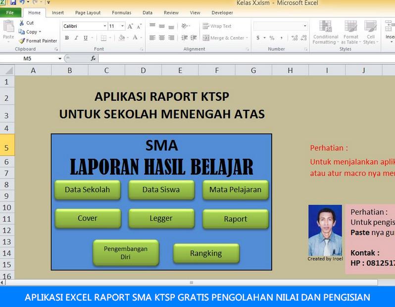 aplikasi raport sma untuk pengolahan dan pengisian nilai versi digital dengan Excel
