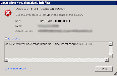 Detected an invalid snapshot configuration : msg.snapshot.error-NOTFOUND.