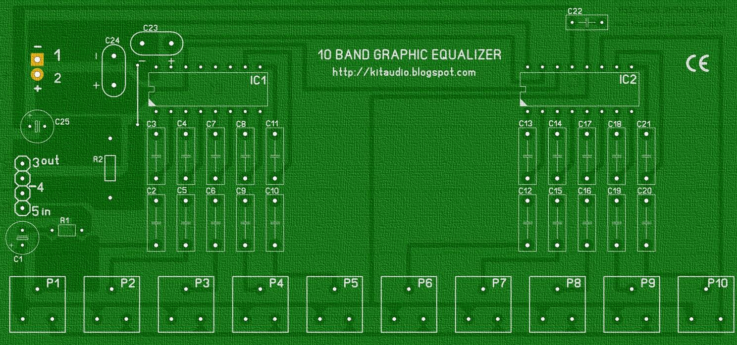Audio kit: 10 Band Graphic Equalizer circuit with KA2223 and PCB