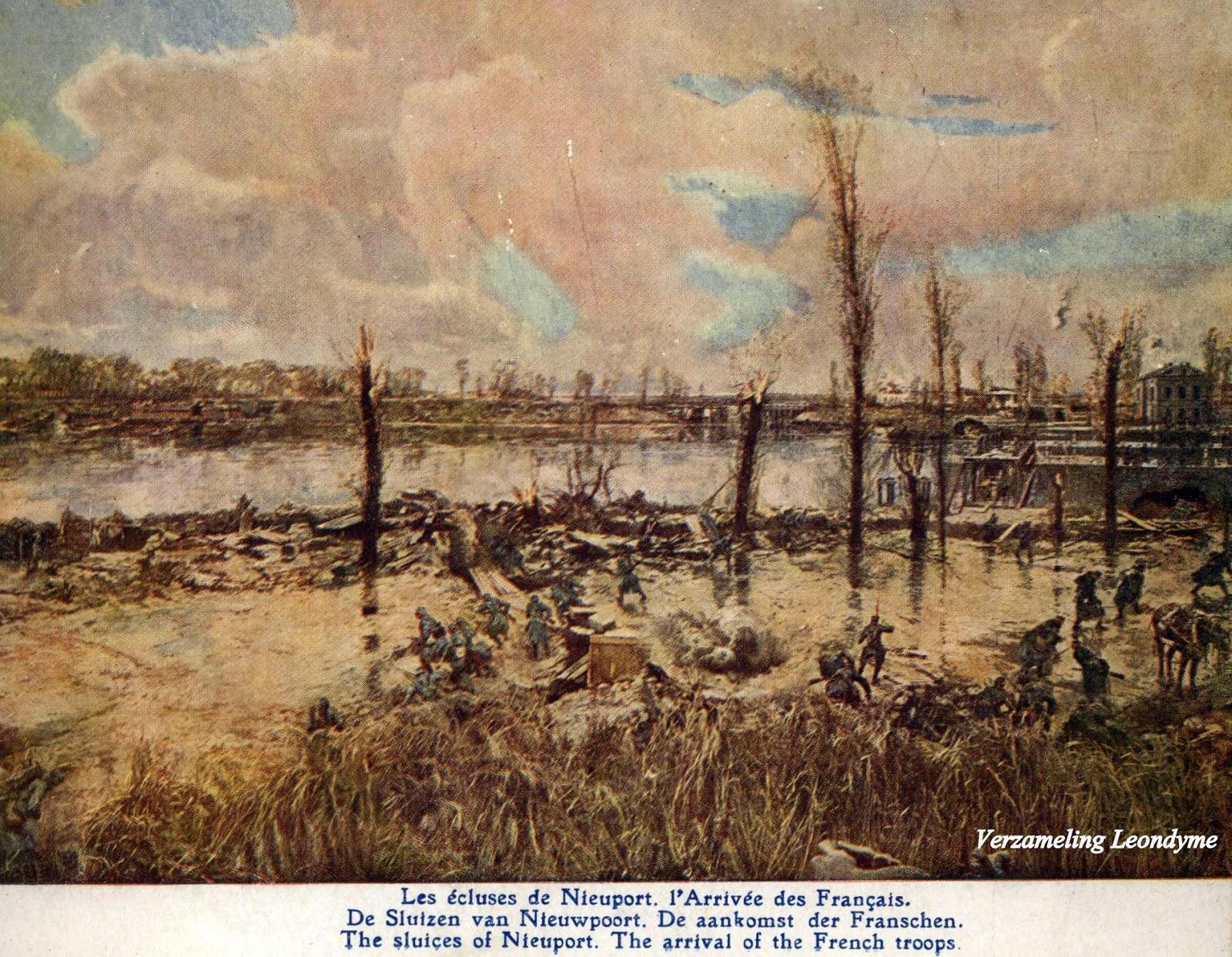 Slag van IJzer door Alfred Bastien. De Sluizen van Nieuwpoort en de aankomst der Franse troepen. Verzameling Leondyme