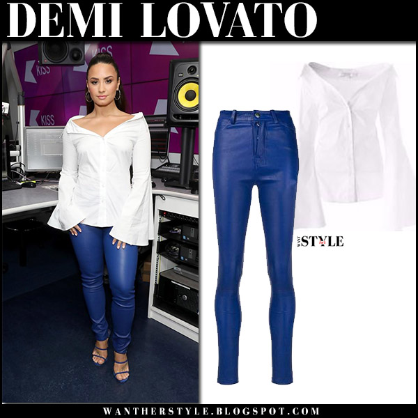 Demi Lovato in white bell sleeve shirt caroline constas and blue leather pants manokhi september 27 2017 celebrity fashion