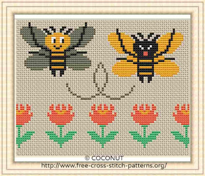 Bee , Free and easy printable cross stitch pattern