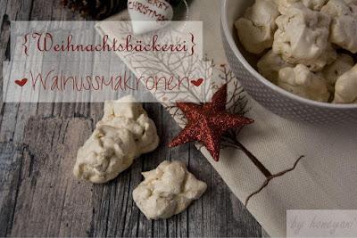 Backrezept für die Weihnachtsbäckerei - Walnussmakronen Plätzchen backen