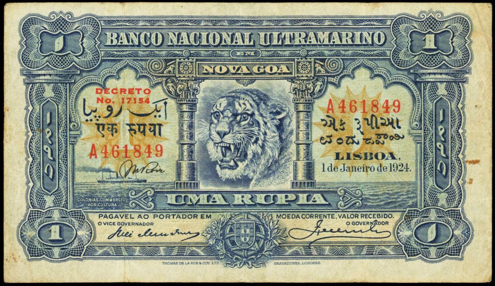 Portuguese Indian rupia banknote 1924 Tiger Banco Nacional Ultramarino, Nova Goa