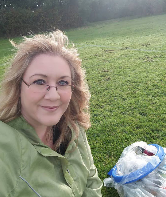 Julie at Bushfield having cleared it of rubbish