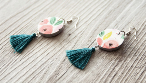 aqua cotton tassel earrings with floral paper discs
