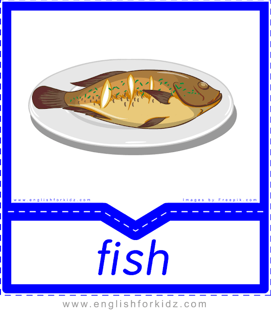 Fish - English food flashcards for ESL students
