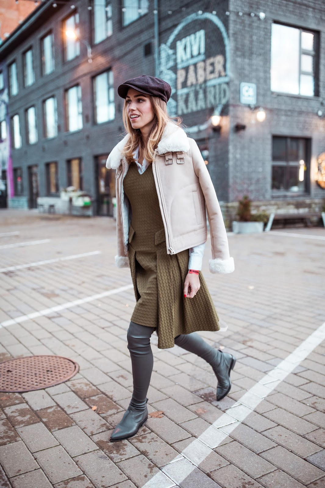 fall street style dress over knee boots