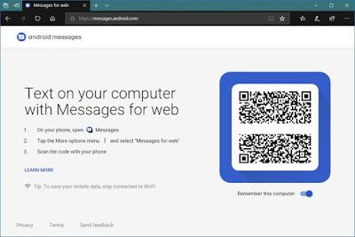 Cara mengirim sms dari pc windows 10 menggunakan Android Messages for web