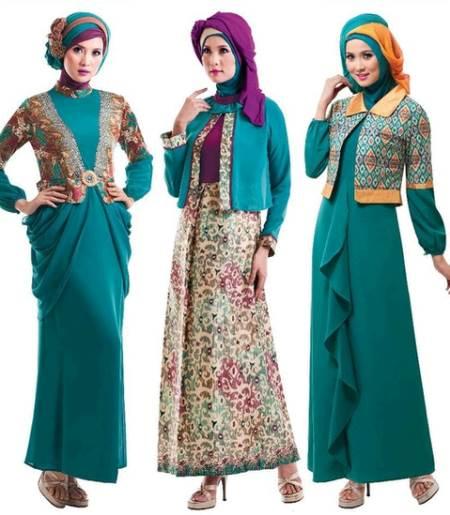 Model gamis muslim kombinasi brokat yang trendy