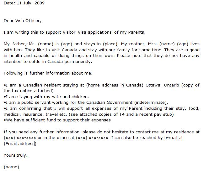 how to write a visa invitation letter to canada