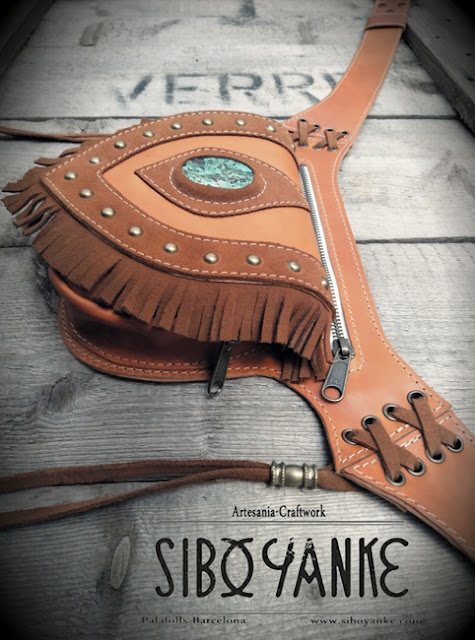Festival Belt-Leather Utility Belt-Leather Hip Belt-Belt Bag-Waist Bag with CHRYSOCOLLA Stone HANDMADE by Sibo Yanke