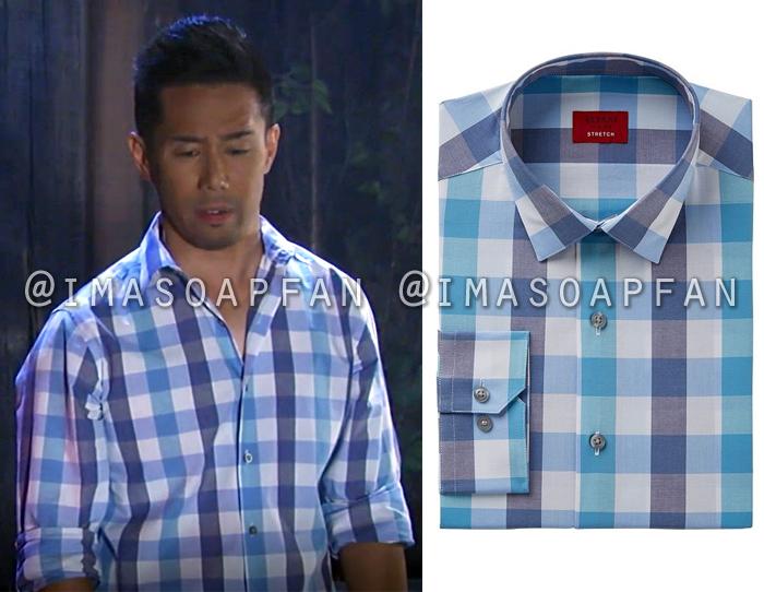 Brad Cooper, Parry Shen, Blue Gingham Dress Shirt, Alfani, General Hospital, GH