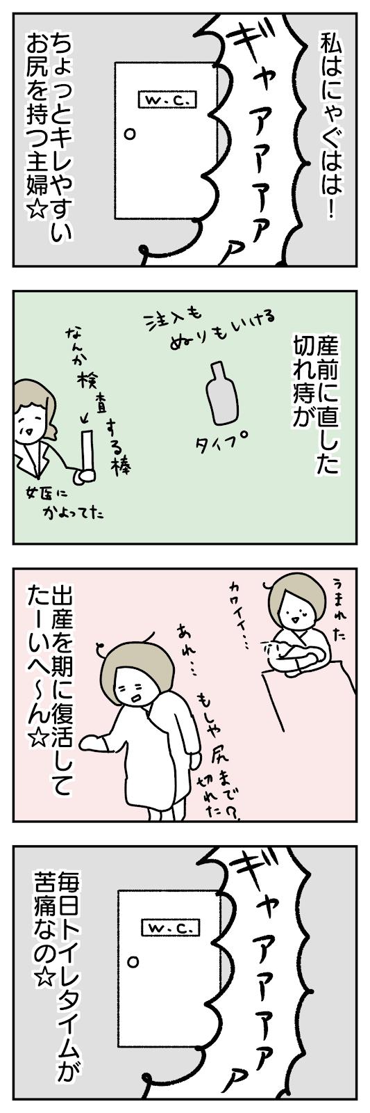 切れ痔を直して挑んだお産で切れ痔復活!産後の切れ痔に悩まされる漫画