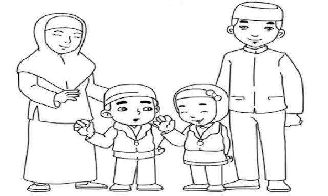 Mewarnai Gambar Ayah Ibu Dan Anak