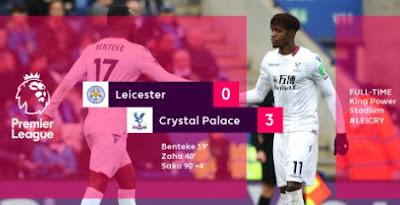 Leicester City Kalah 0 - 3 dari Crystal Palace