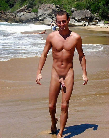 Naked men at nude beach