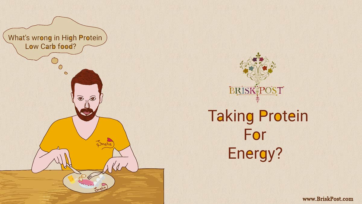 Man on dinning table with spoon and fork in beard and yellow t-shirt, taking high protein low carb food plate as energy source (cartoon illustration by sneha)