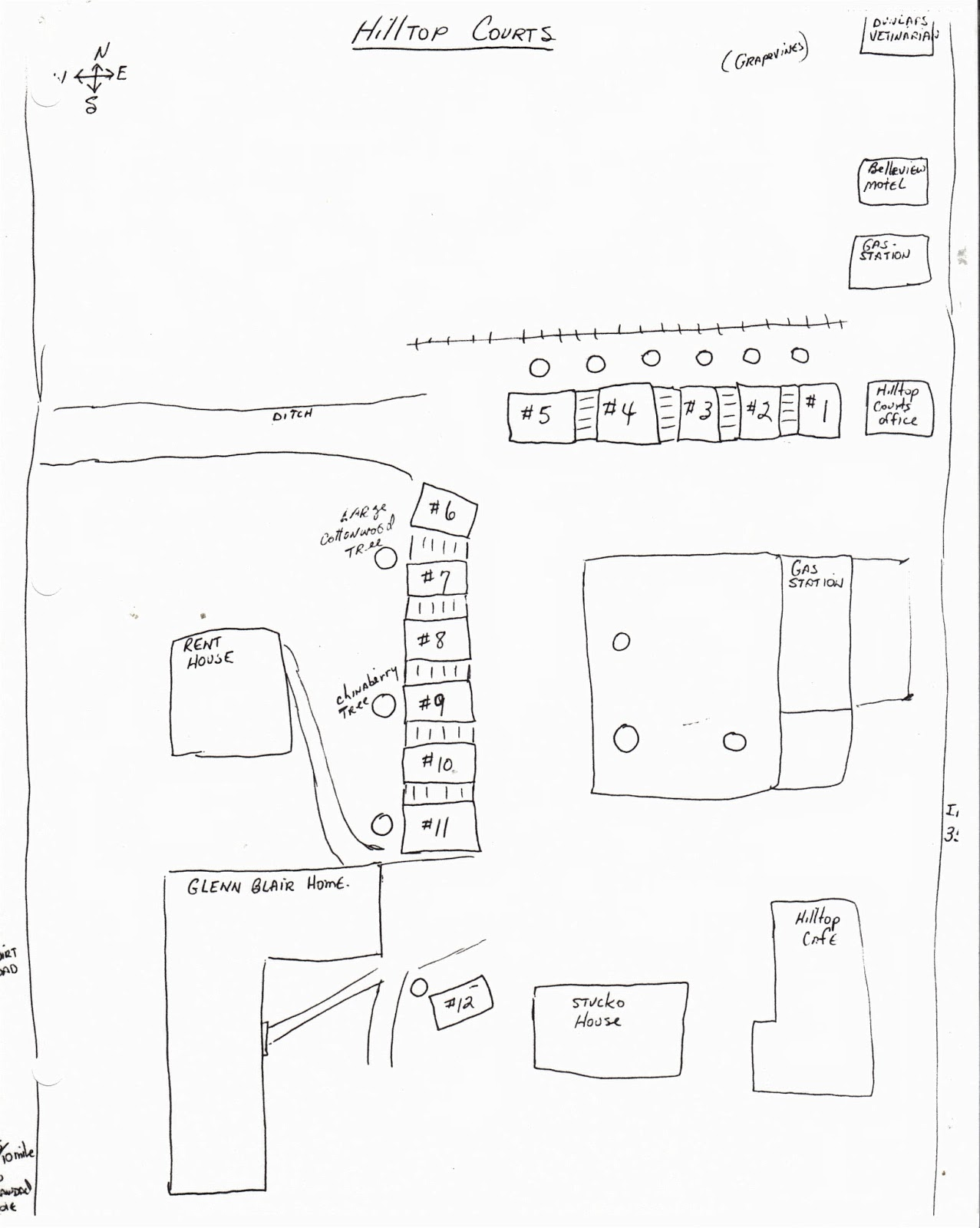 Quick drawing of the general hill top courts area belton texas drawn by billy blair top of map faces north