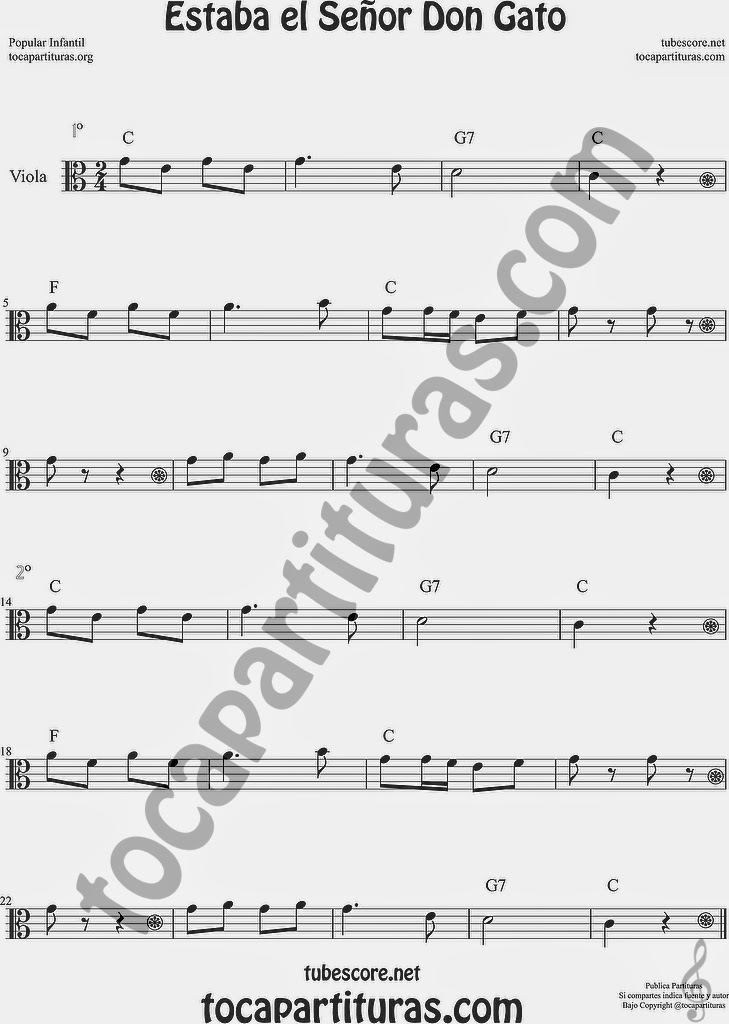 Estaba el Señor Don Gato Partitura de Viola Sheet Music for Viola Music Score
