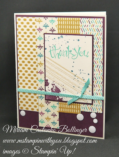 Miriam Castanho-Bollinger, #mstmapinwithyou, stampin up, demonstrator, rs, thank you, bohemian dsp, sassy salutations, gorgeous grunge stamp set, white perfect accents, su