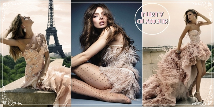 pale pink glamour dresses and fashion photography