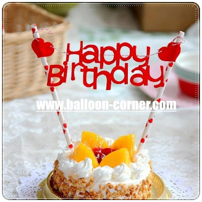 Topper Kue Motif HAPPY BIRTHDAY & LOVE