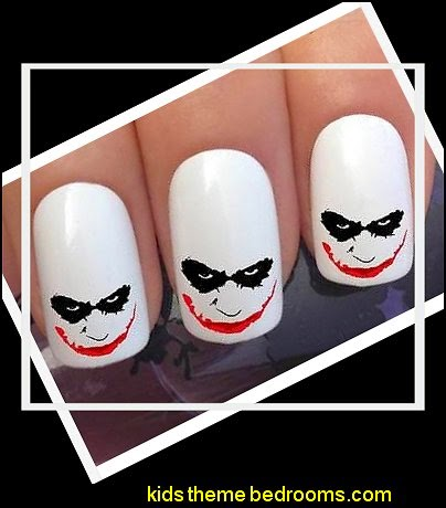 WATER NAIL TRANSFERS BATMAN SCARY JOKER DRIP FACE TATTOO DECALS STICKERS