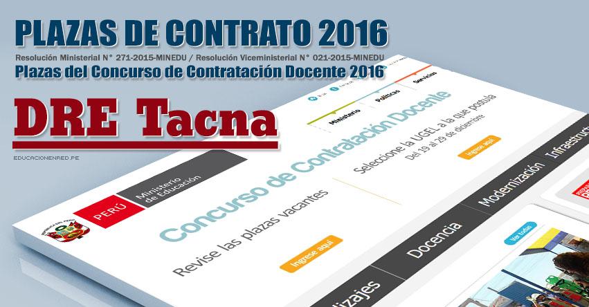DRE Tacna: Plazas Vacantes Contrato Docente 2016 (.PDF) www.educaciontacna.edu.pe