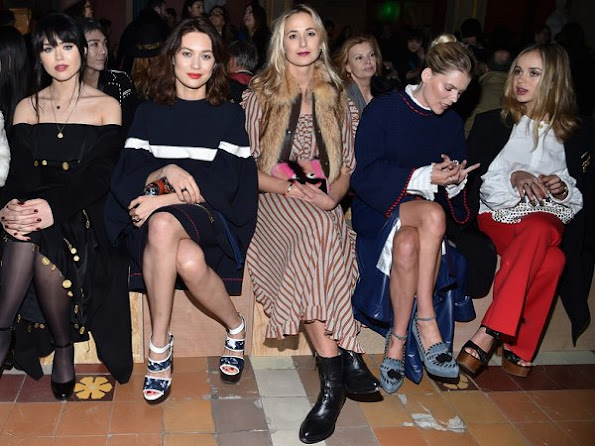 Kristina Bazan, Olga Kurylenko, Elisabeth von Thurn und Taxis, Helena Bordon and Amelia Windsor attend the Sonia Rykiel Fashion show