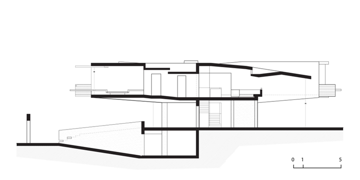 Side section of Extreme modern house by Longhi Architects