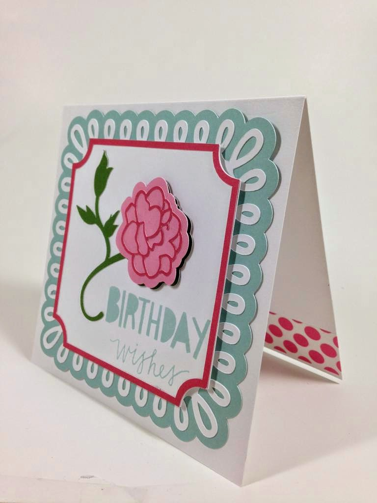 Cricut Martha Stewart Elegant cartridge Birthday Wishes card sideview