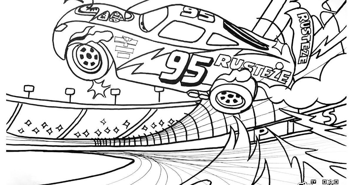 mcqueen cars coloring pages | TIM TIM TV: Coloring Page - Lightning McQueen Crash Scene