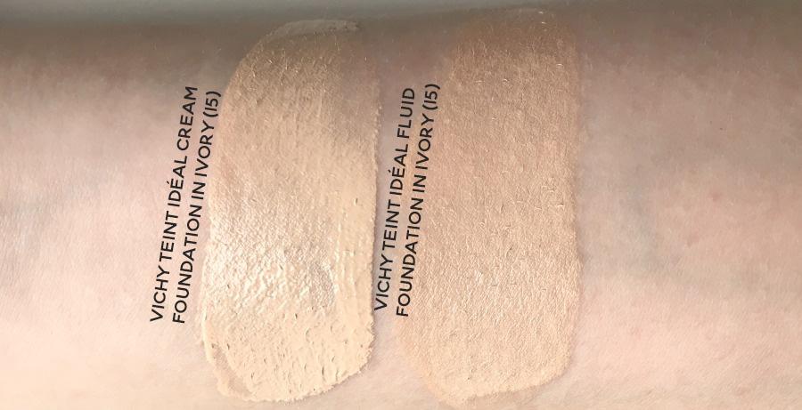 Vichy Teint Idéal cream and fluid foundation swatches