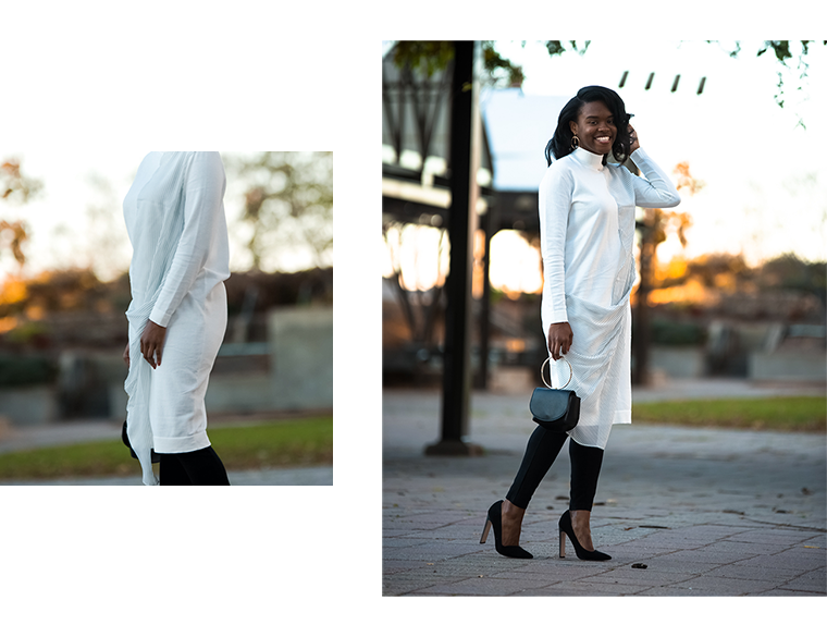 How to style drouser trend, blogger wearing long shirt dress