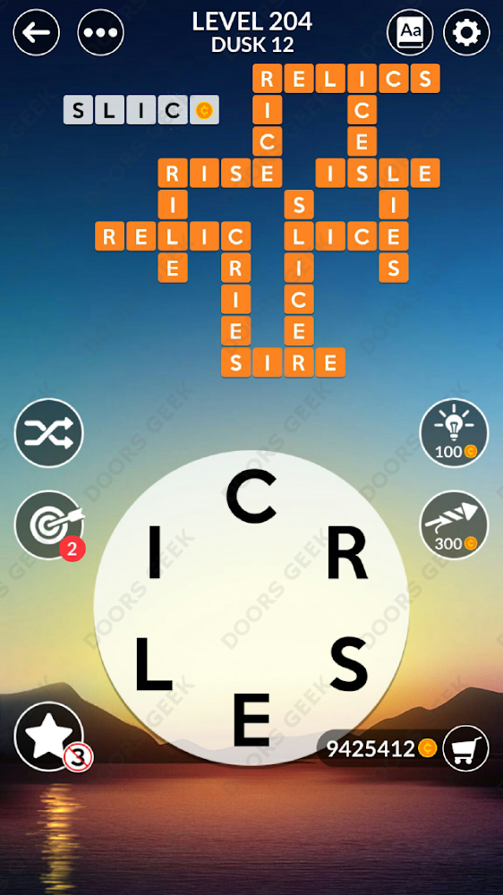 Wordscapes Level 204 answers, cheats, solution for android and ios devices.