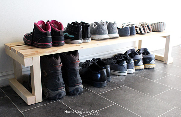 shoes of all sizes organized with this DIY wood project