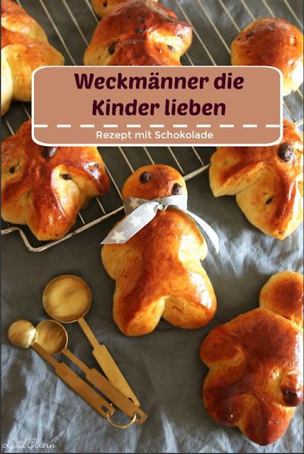Weckmänner - Rezept - selber backen - mit Schokolade