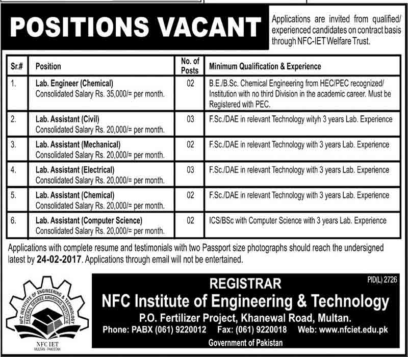 NFC Institute of Engineering & Technology Multan Job 9 Feb 2017