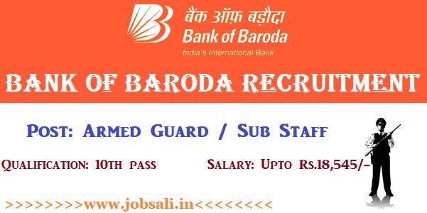 BOB Recruitment 2017, Bank of Baroda Armed Guard Recruitment 2017, BOB Online application form