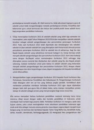 Surat Resmi Penghentian Kurikulum 2013 dari Mendikdasmen Anies Baswedan