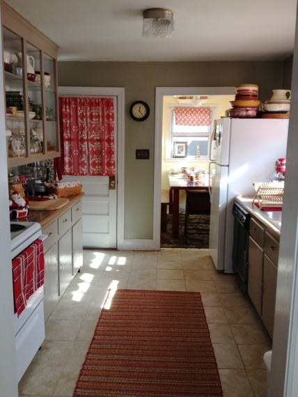 The Main Kitchen Which Is What My Friend Painted Had Sage Green Walls And Dark Oatmeal Cabinets I Used Red To Tie Breakfast Nook Together