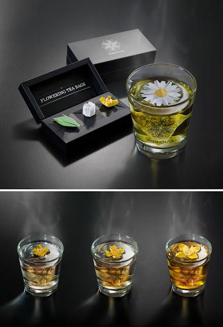Tương tự như trà túi lọc cá vàng Charm Villa, khi gặp nước nóng, túi trà Samova sẽ từ nụ nở thành một bông hoa