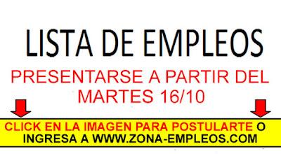 EMPLEOS PARA PRESENTARSE A PARTIR DEL 16/10