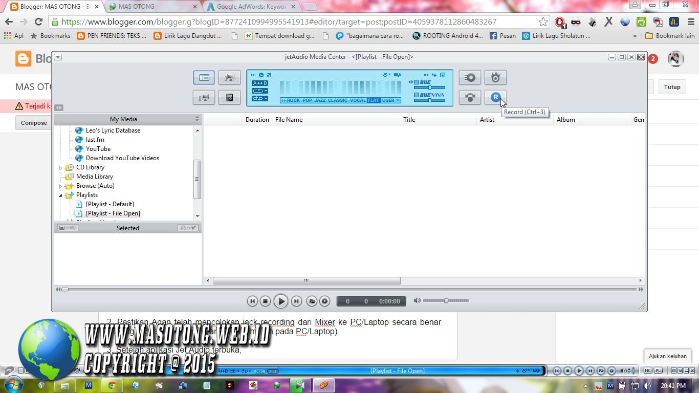 Cara Merekam Suara di PC/Laptop dengan Jet Audio ~ MAS OTONG