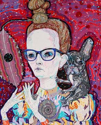 """Self-portrait with studio wife"" by Del Kathryn Barton | Archibald Prize 2018 Finalist | creative emotional paintings, cool stuff, pictures, deep feelings, sad | obras de arte contemporaneo, cuadros, imagenes de pinturas tristes bonitas | peintures, pitturas"