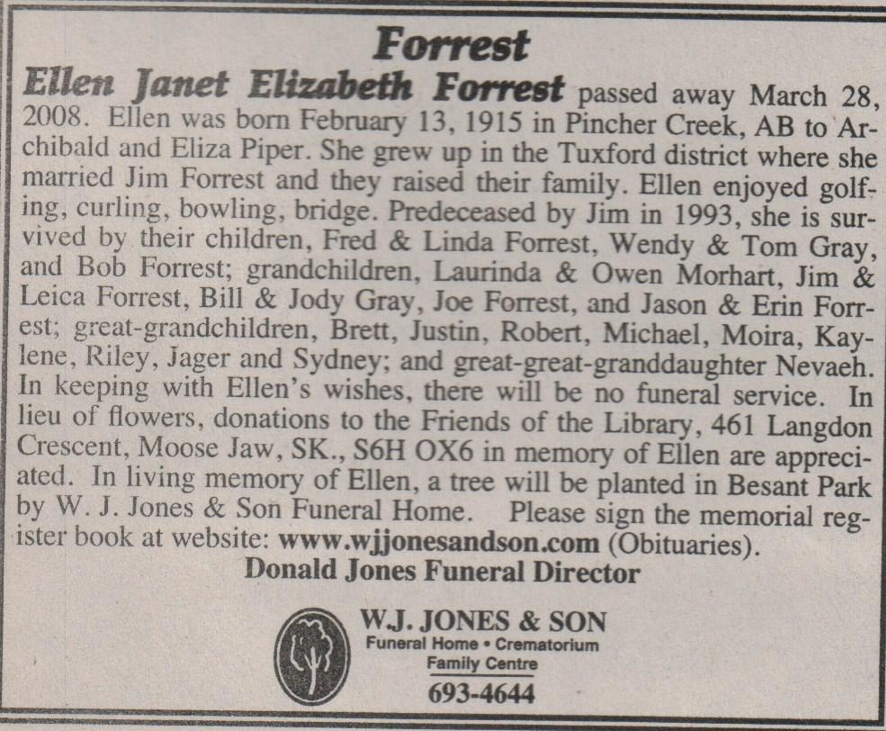 Saskatchewan births marriages deaths ellen janet elizabeth forrest nee piper mjth 30 march 2008 aiddatafo Image collections